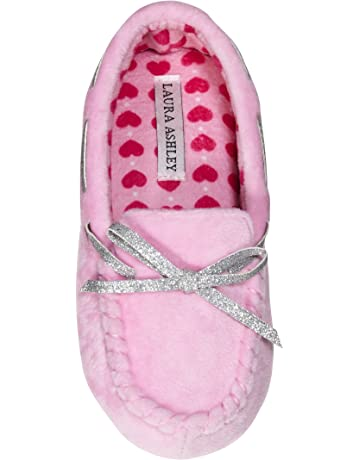 456737c6ce32 Laura Ashley Kids Girls Fleece Glitter and Bow Moccasins Floral Pink (See  Sizes)