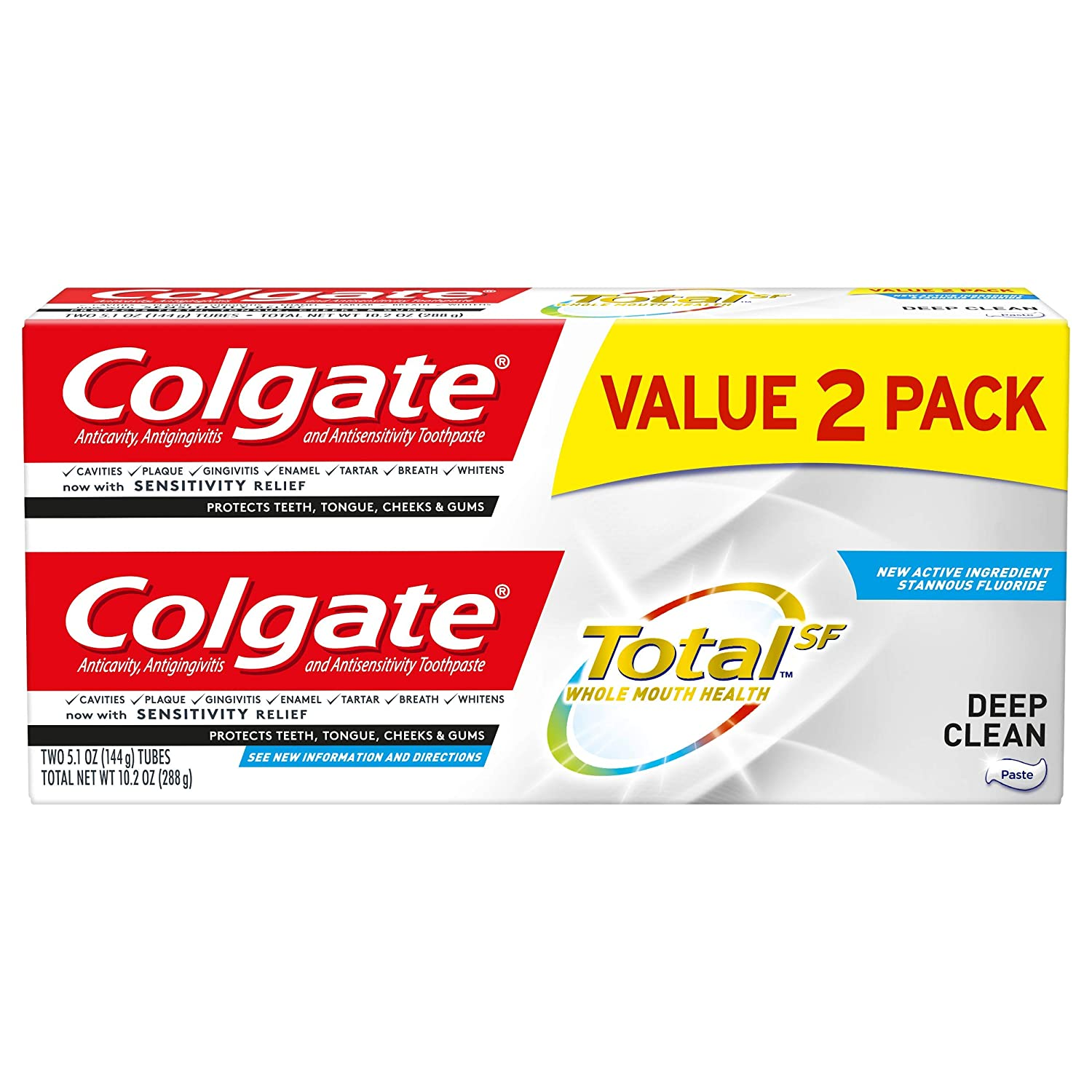 Colgate Total Toothpaste, Deep Clean, 5.1 ounce, 2 Count