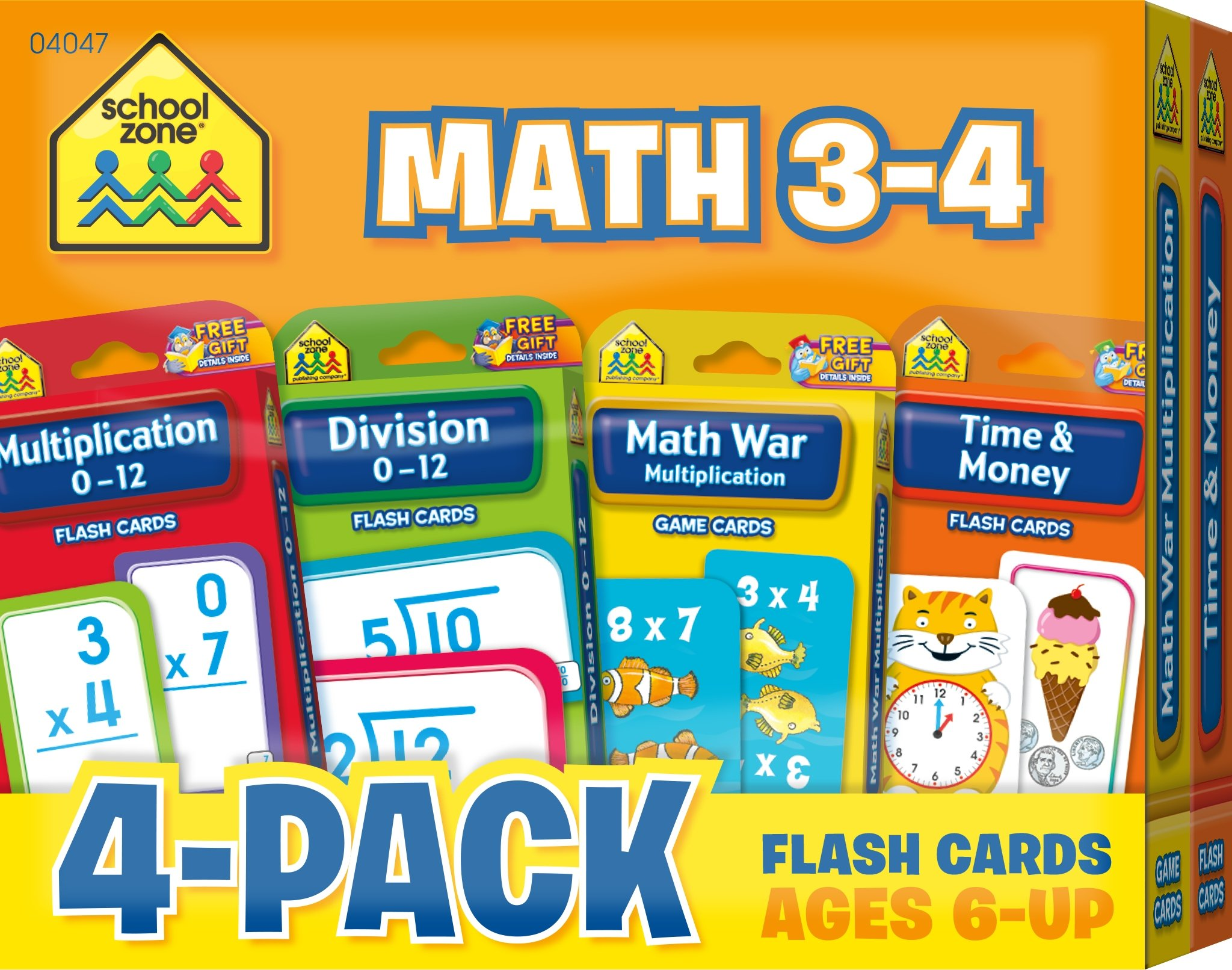 School Zone - Math 3-4 Flash Card 4-Pack -  Ages 6 and Up, Multiplication, Division, Time and Money, and More (Flash Card 4-pk)
