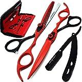Saaqaans Tijeras de Peluquería Barbero Profesional Conjunto - Perfecto para Corte de Pelo con Estilo, Recortar tu Barba y Bigote (Red & Black)