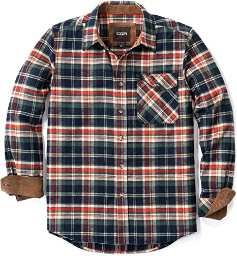 CQR Camisa de Franela de Manga Larga con Botones a Cuadros, de algodón Cepillado, para Hombre, XS, Corduroy Lined(hof110) - Burnt Navy: Amazon.es: Deportes y aire libre