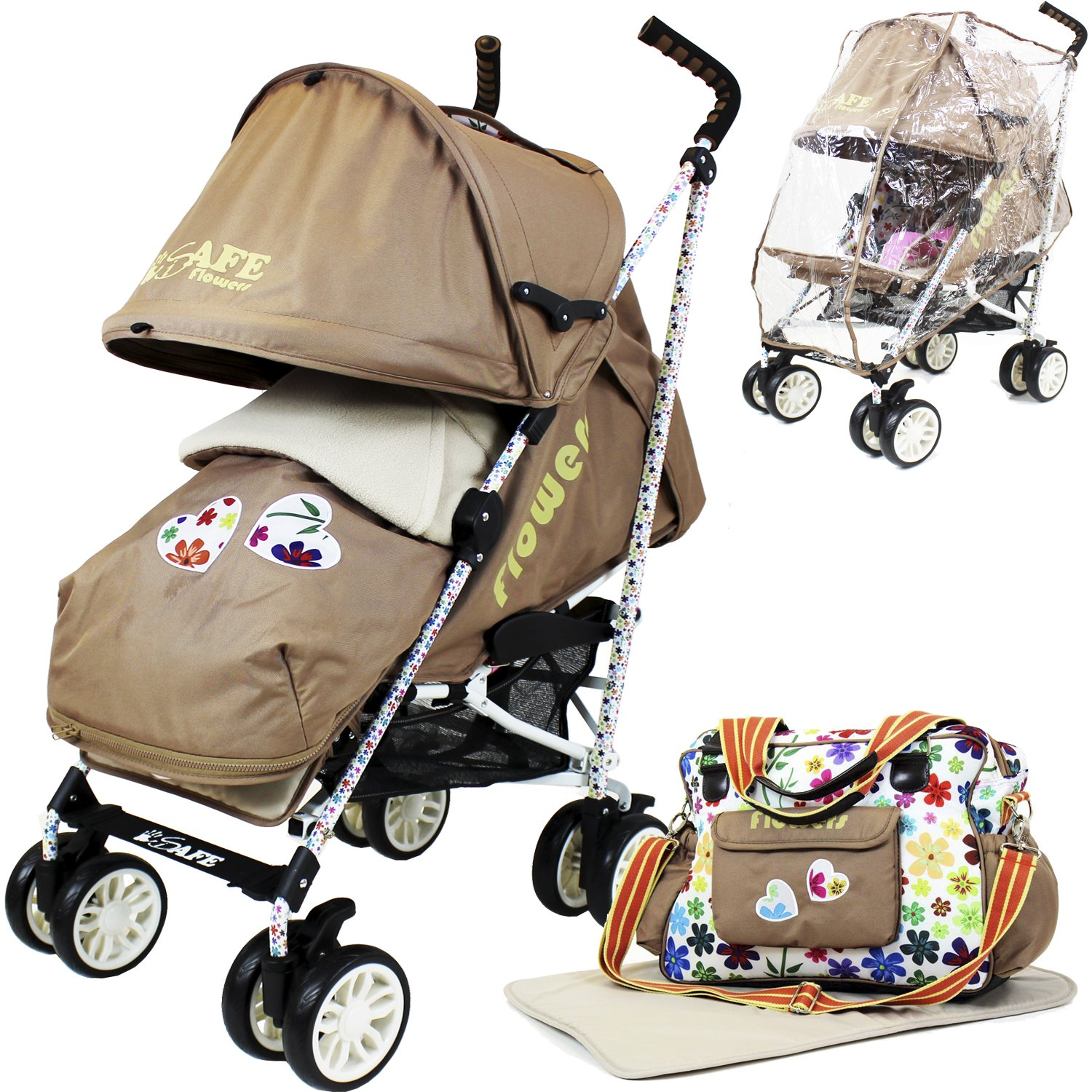 iSafe buggy Stroller Pushchair - Flowers (Complete With Footmuff, Changing Bag, Bumper Bar & Rain cover) Flowers3