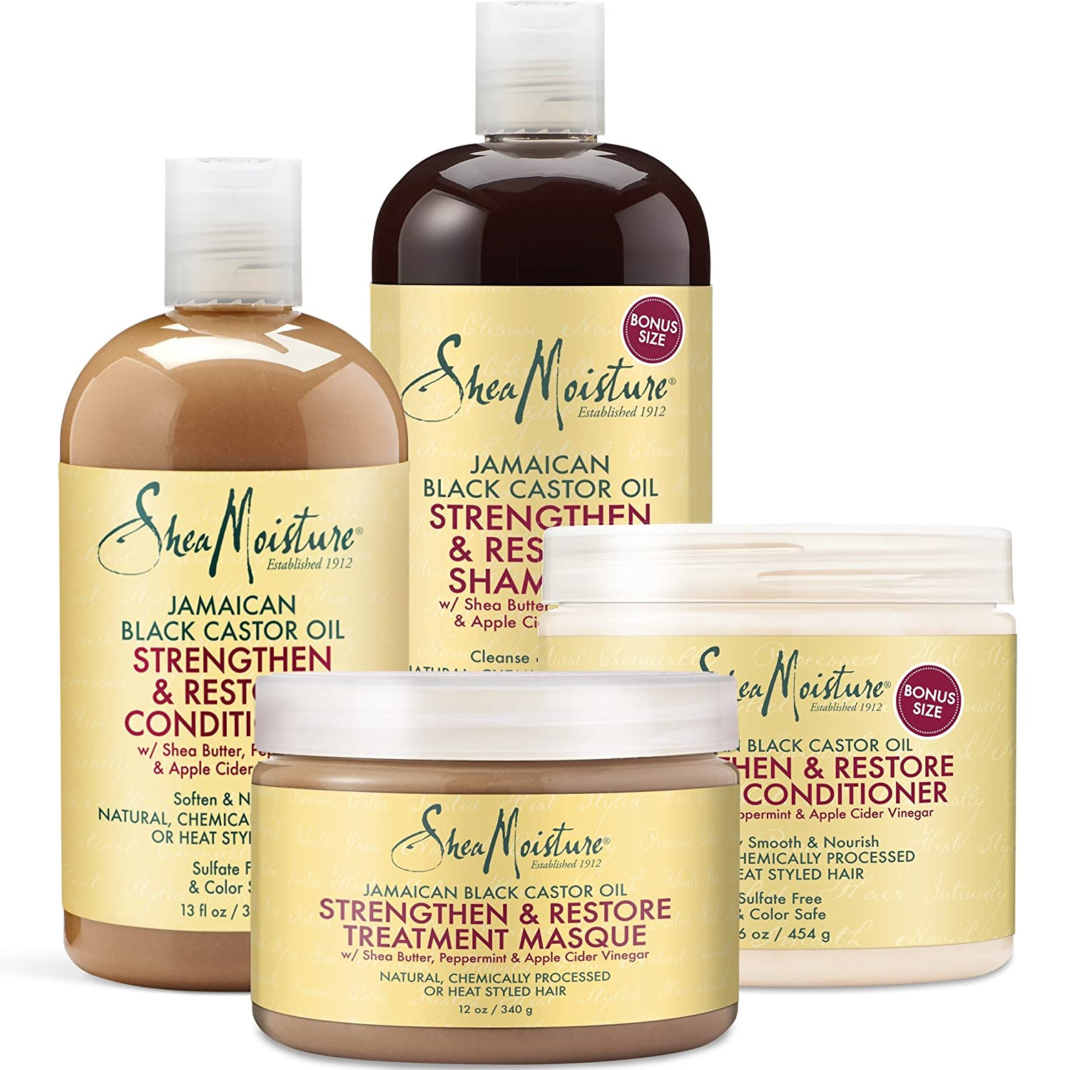 Shea Moisture Strengthen Grow & Restore Combo Bundle, Includes - 16.3 Ounce Jamaican Black Castor Oil Shampoo | 16 Ounce Leave-In Conditioner | 13 Ounce Conditioner | 12 Ounce Treatment Masque