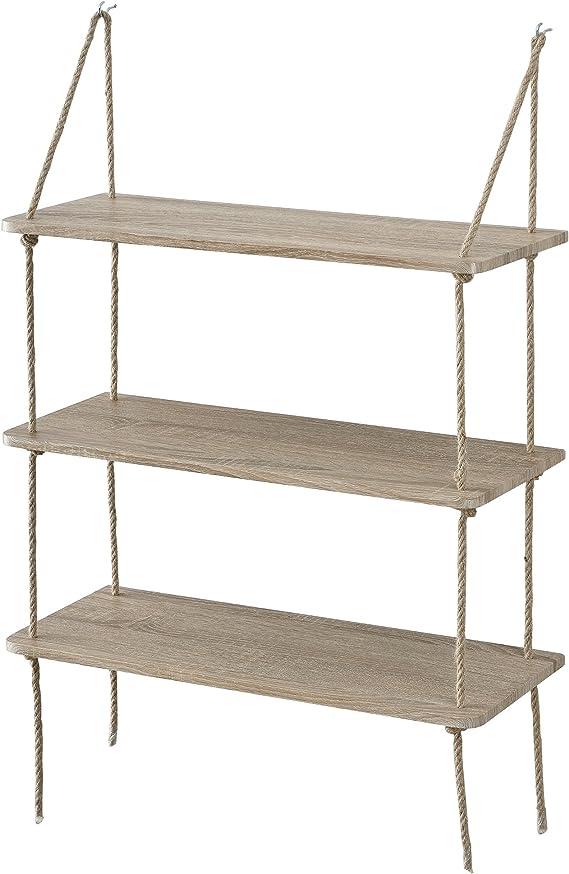 [en.casa] Estantería de Pared Decorativa con 3 estantes - estantes Colgantes con Cuerda - Efecto Madera - 60 x 23,5 cm - Retro