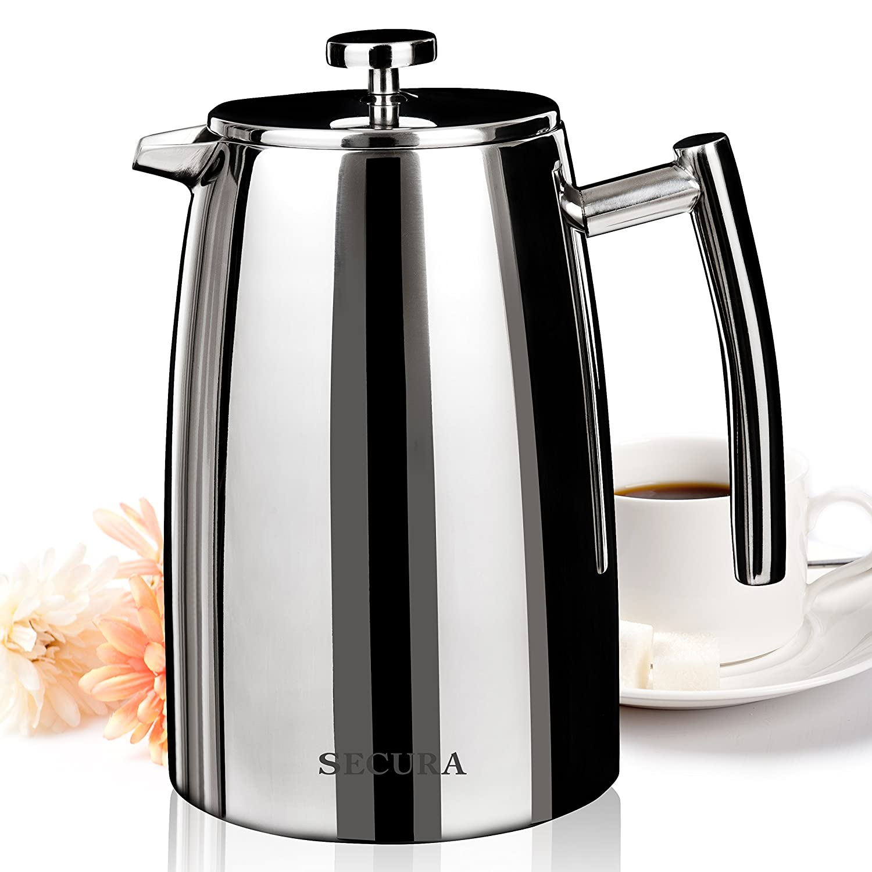 Secura 1500ML French Press Coffee Maker, 50-Ounce, Stainless Steel 18/10 SFP-50DSC, BONUS Stainless Steel Screen