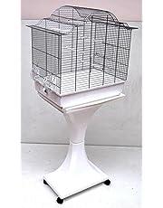 Cage à Oiseaux à Barreaux XXL Sophia Chrome/ Blanc Avec Support L62xT40xH120 cm