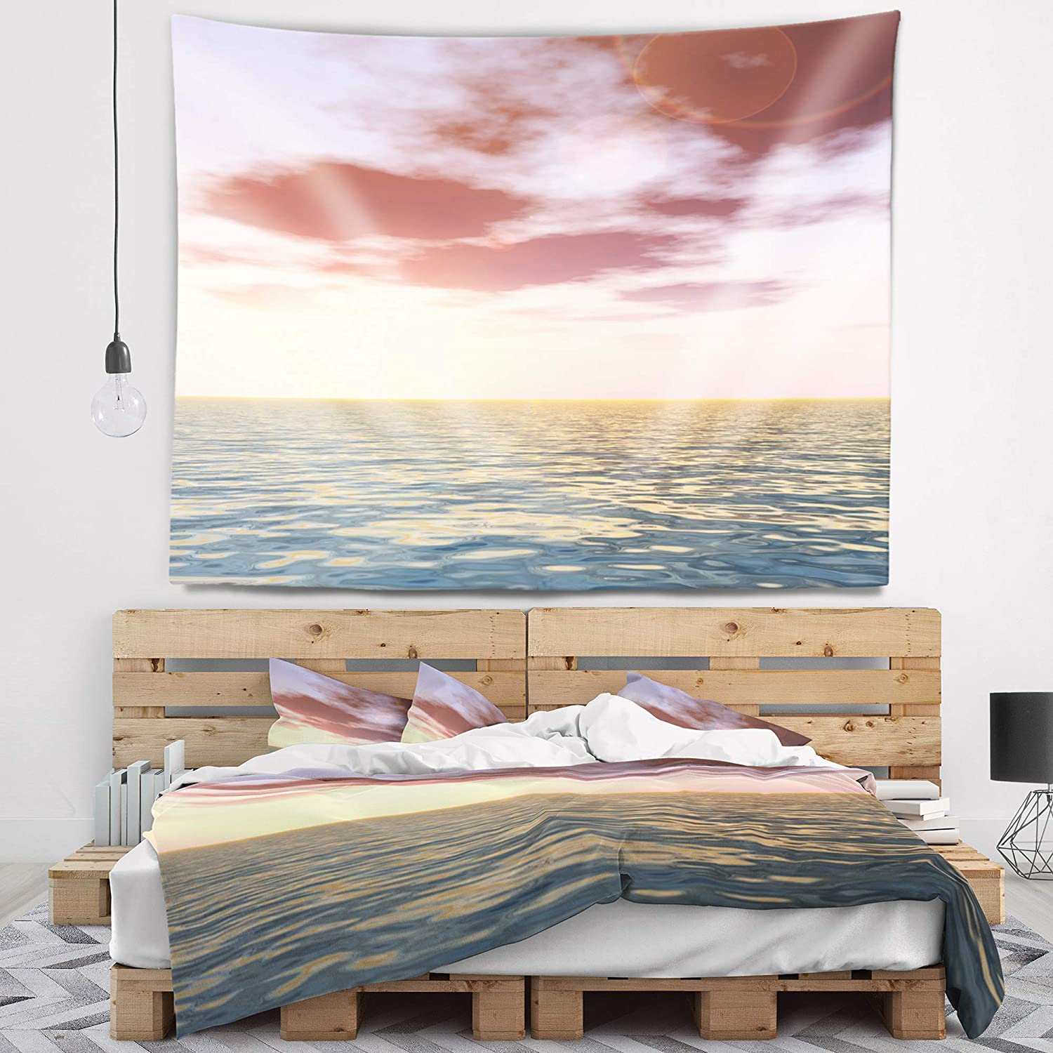 x 50 in Designart TAP10525-60-50  Purple Tinged Atlantic Seashore Seascape Blanket D/écor Art for Home and Office Wall Tapestry Large in 60 in
