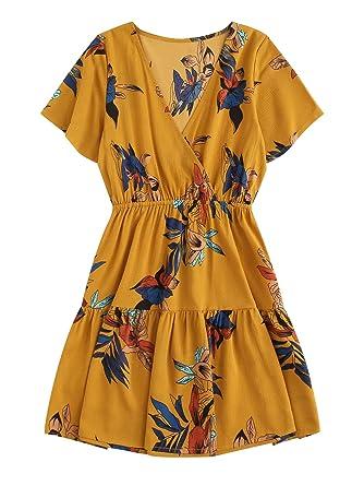 4763f0f375 SheIn Women's Casual Short Sleeve V Neck Boho Floral Print Short Dress  Ginger S