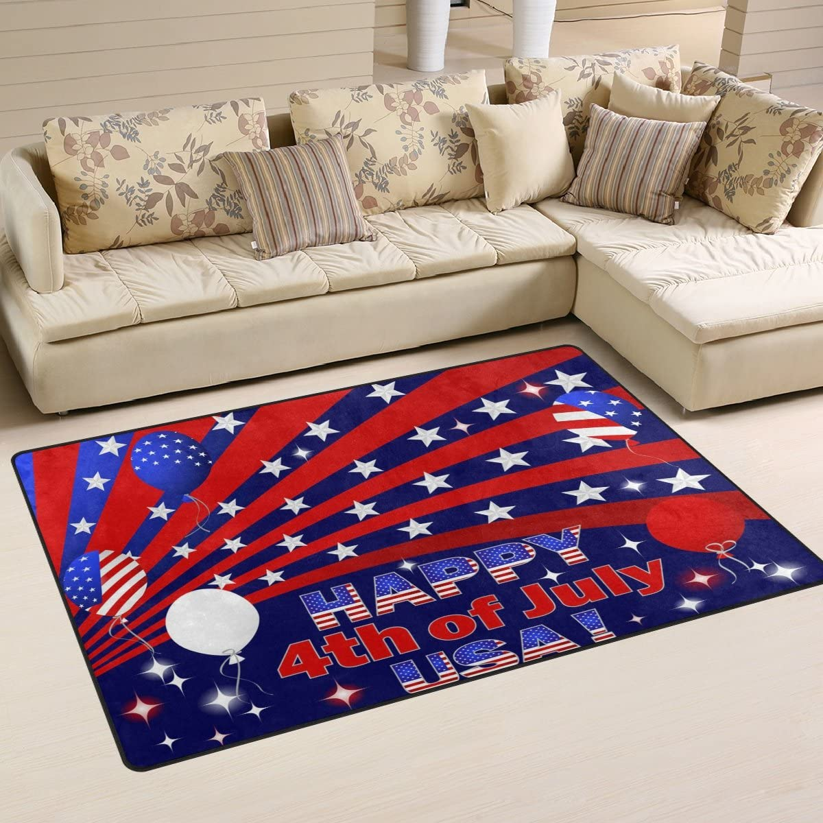 WOZO Happy 4th of July USA American Flag Balloon Area Rug Rugs Non-Slip Floor Mat Doormats Living Dining Room Bedroom Dorm 60 x 39 inches inches Home Decor