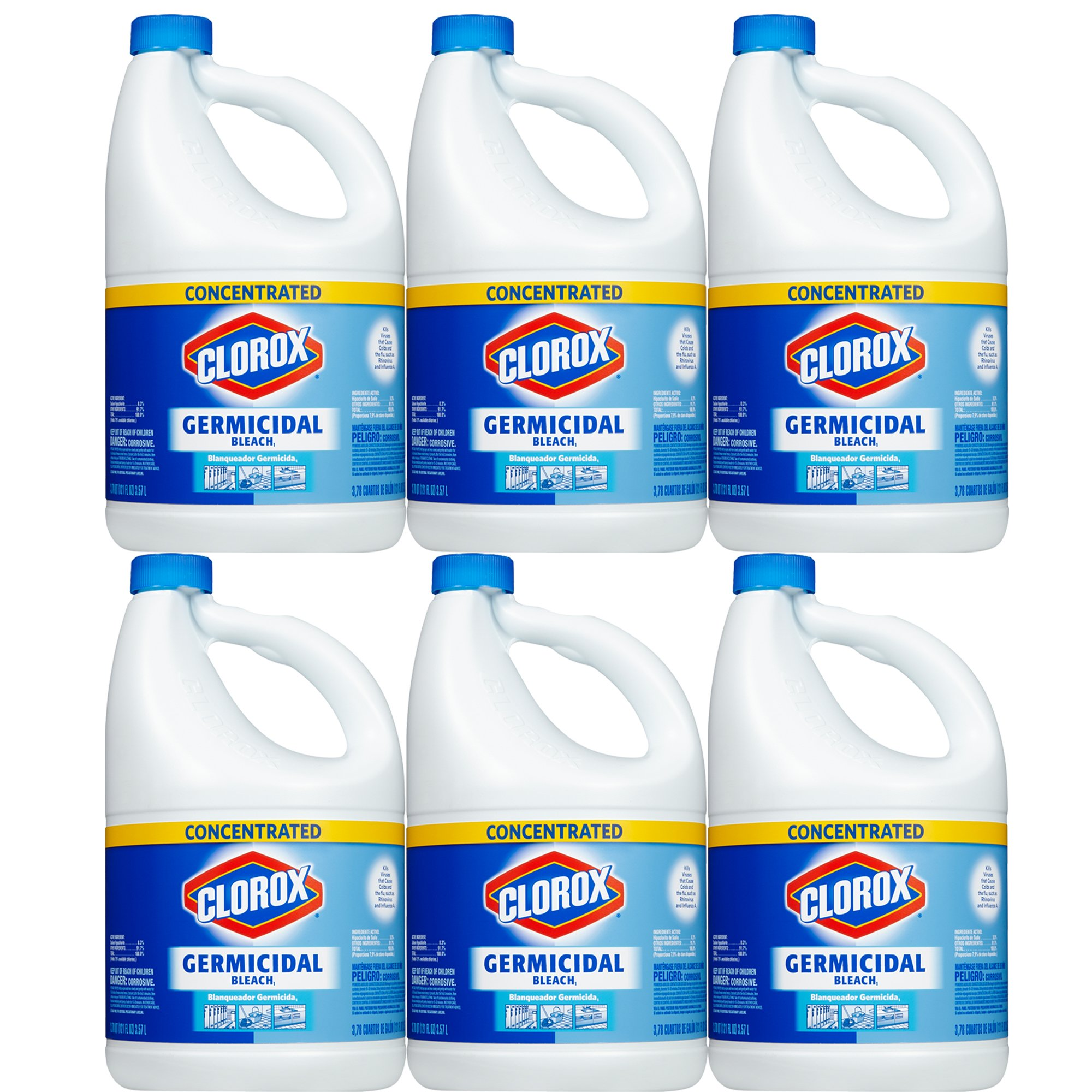 Clorox Germicidal Concentrated Liquid Bleach, 121 oz, 6-Pack