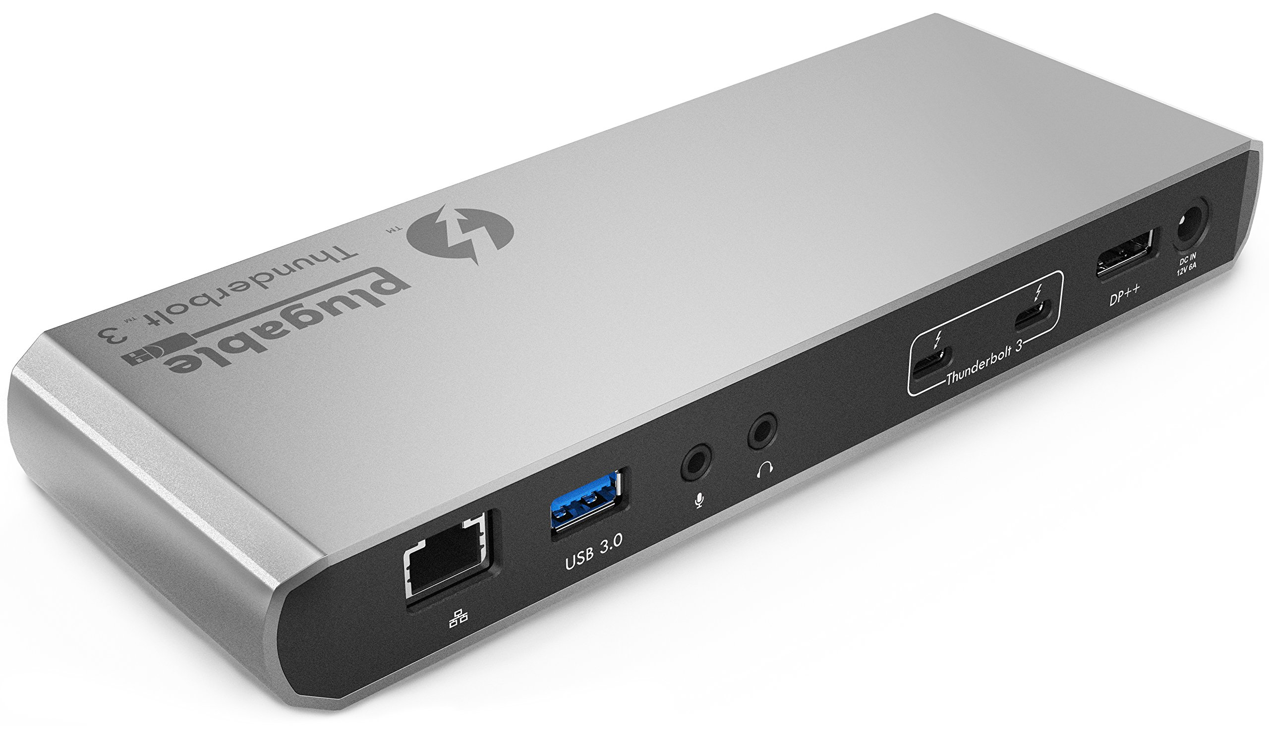 Plugable Thunderbolt 3 Docking Station for MacBook Pro 2016/2017 and Other Compatible Laptops (Supports 4K DisplayPort or HDMI Display, Gigabit Ethernet, Audio, 3 USB Ports. No Host Charging)