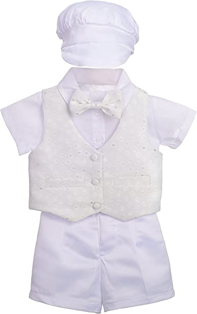 Dressy Daisy Baby Boys Baptism Christening Suit Outfit Bonnet Short Sleeves 4 Pcs