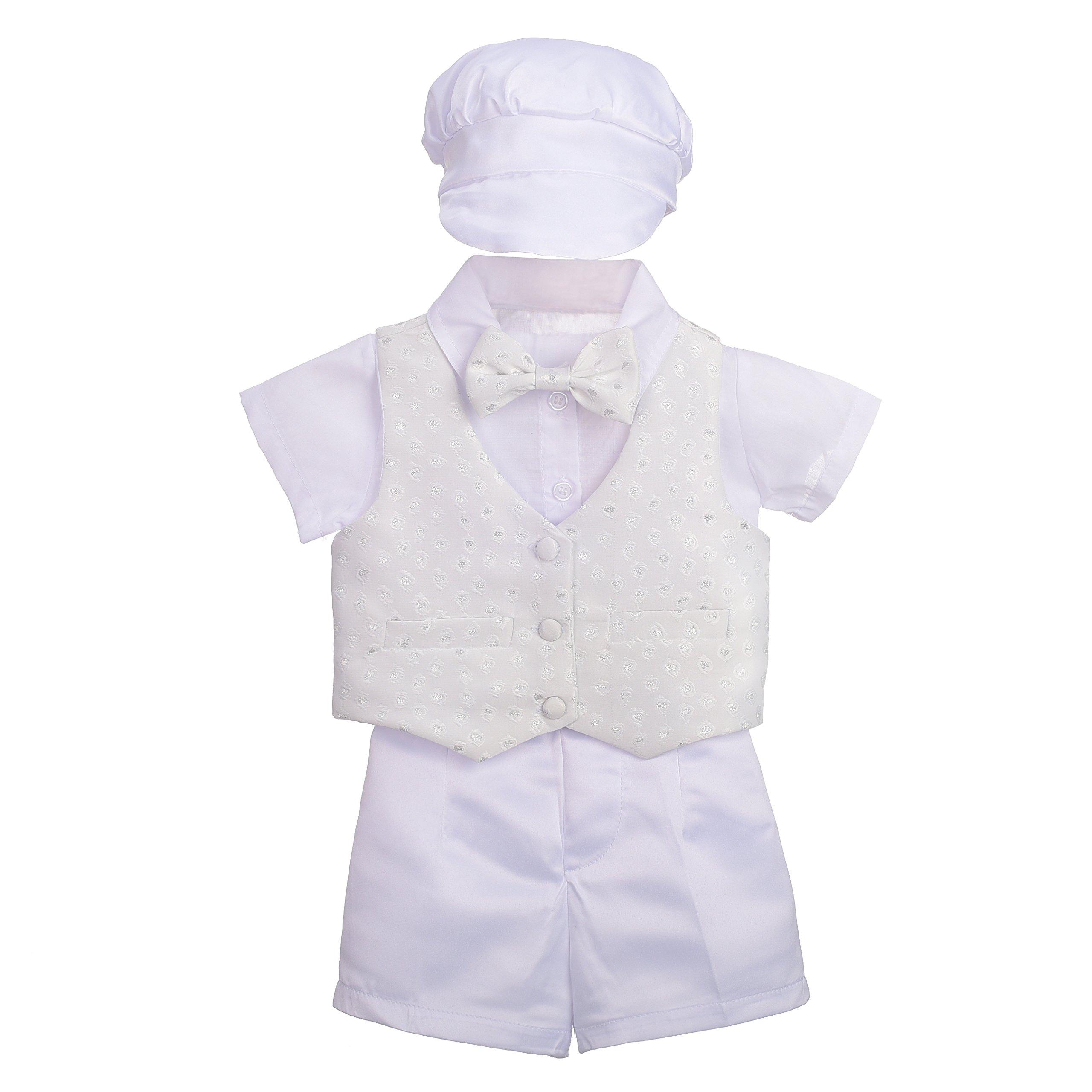 Dressy Daisy Baby Boys' 4Pcs Baptism Christening Outfit & Bonnet Wedding Suit Size 3-6 Months White