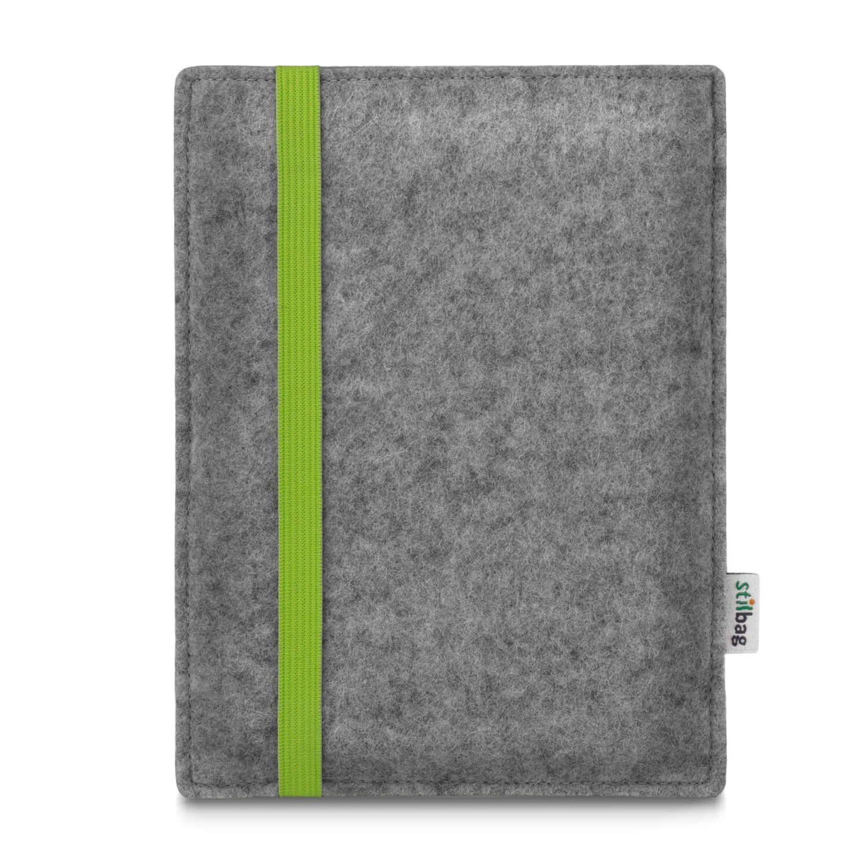 Stilbag maßgeschneiderte eReader-Hülle LEON | Farbe: hellgrau-lime | eBook Reader Tasche aus Filz | e-Reader Schutzhülle | Tasche Made in Germany