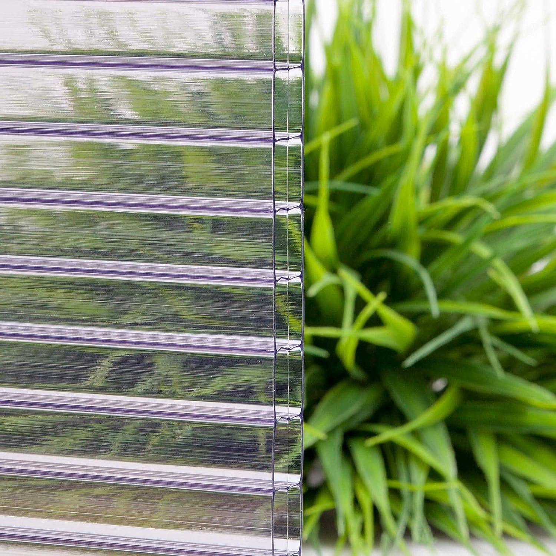 Hohlkammerplatte Farbe Klar Stegdreifachplatte Stegplatte Material Polycarbonat Temperaturreduzierend Breite 980 mm St/ärke 16 mm
