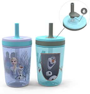 Zak Designs Disney Frozen II Movie Kelso Tumbler Set, Leak-Proof Screw-On Lid with Straw, Made of Durable Plastic and Silicone, Perfect Bundle for Kids (Frozen 2 Olaf, 15 oz, BPA-Free, 2pc Set)