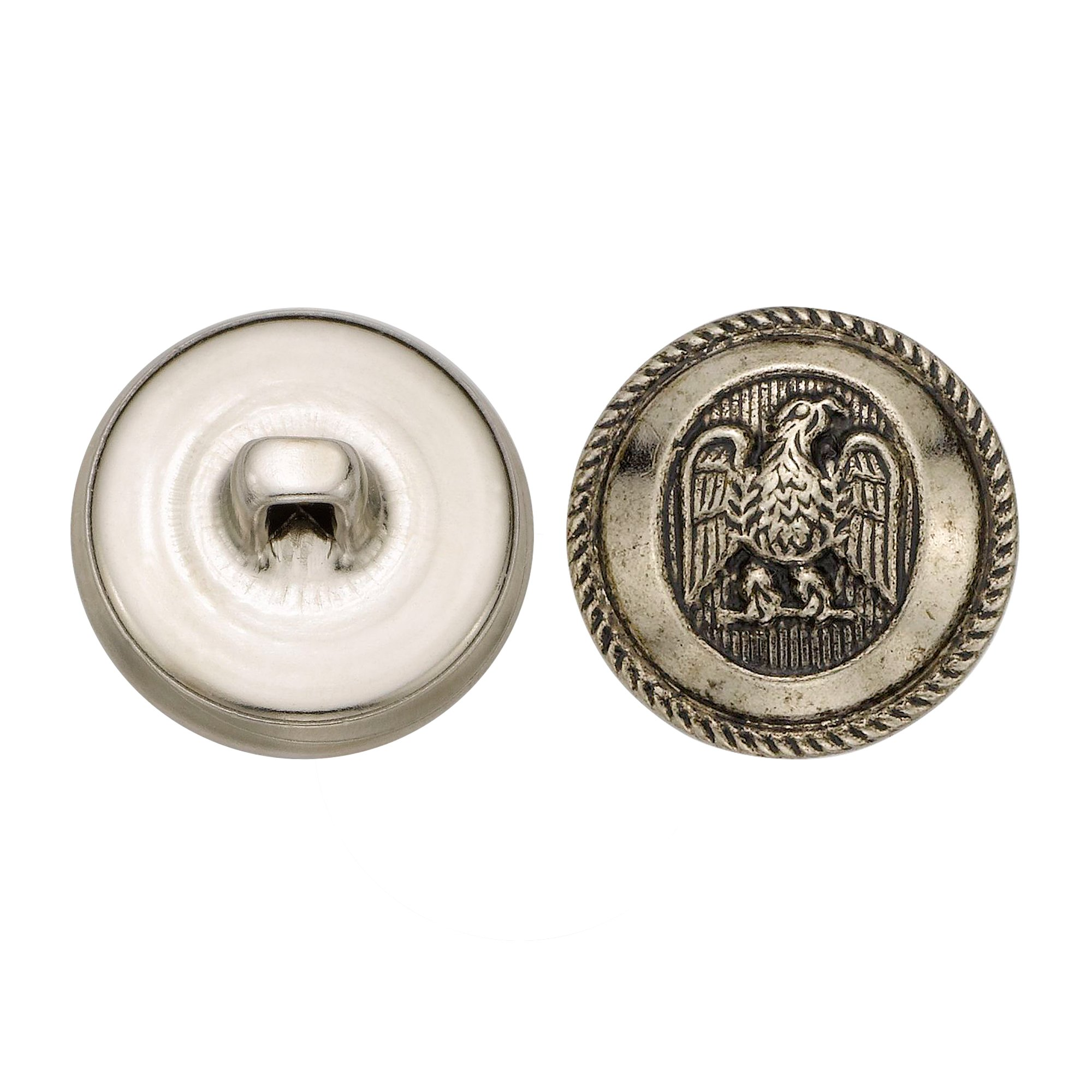 C&C Metal Products 5064 Rope Rim Usa Eagle Metal Button, Size 30 Ligne, Antique Nickel, 36-Pack