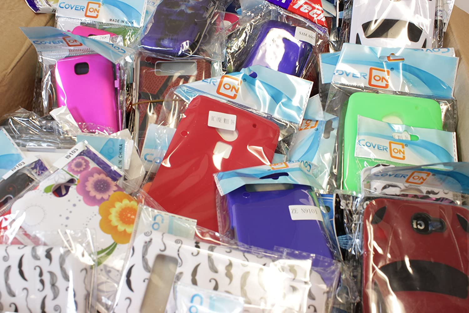 Wholesale Lot of 50 Bulk Cell Phone Cases & Screen Protectors - Various Types/Models