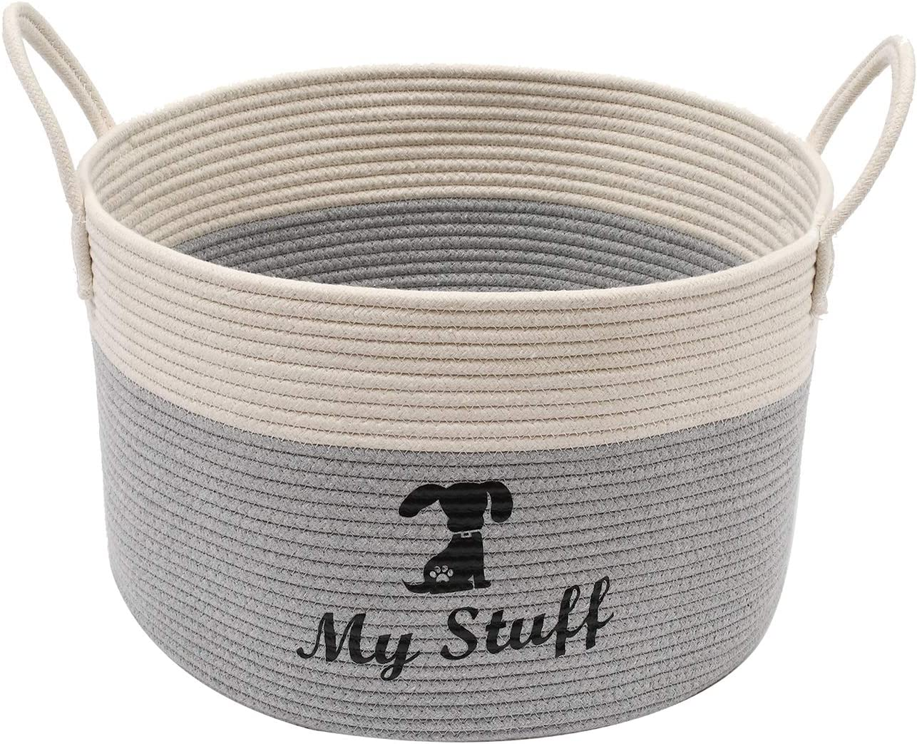 Brabtod Cotton Rope Dog Toy Box Large with Handle, Doggie Toy bin, Dog Toy Basket, Laundry Basket - Idea for organizing pet Toys, Blankets, leashes, Coats, Diapers