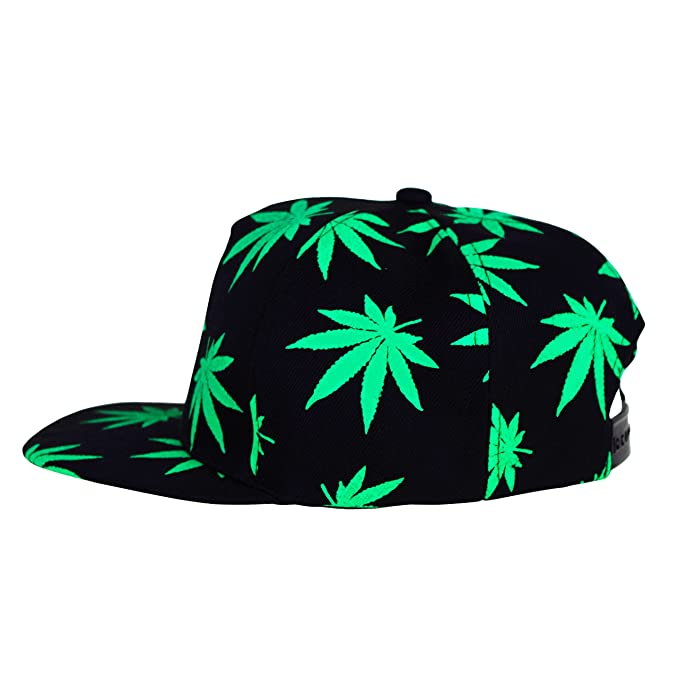 Marijuana Hat Snapback Weed Leaf Baseball Cap Headwear Cannabis 420 Rasta Adjustable Colors (Green) at Amazon Mens Clothing store: