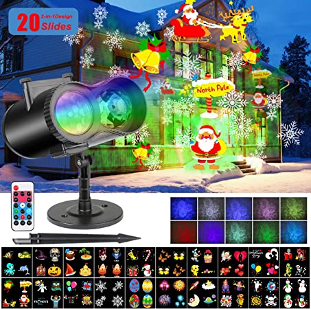 3D Animation LED Laser Projector Light  Xmas Party 10 Themes Garden Party Lamp