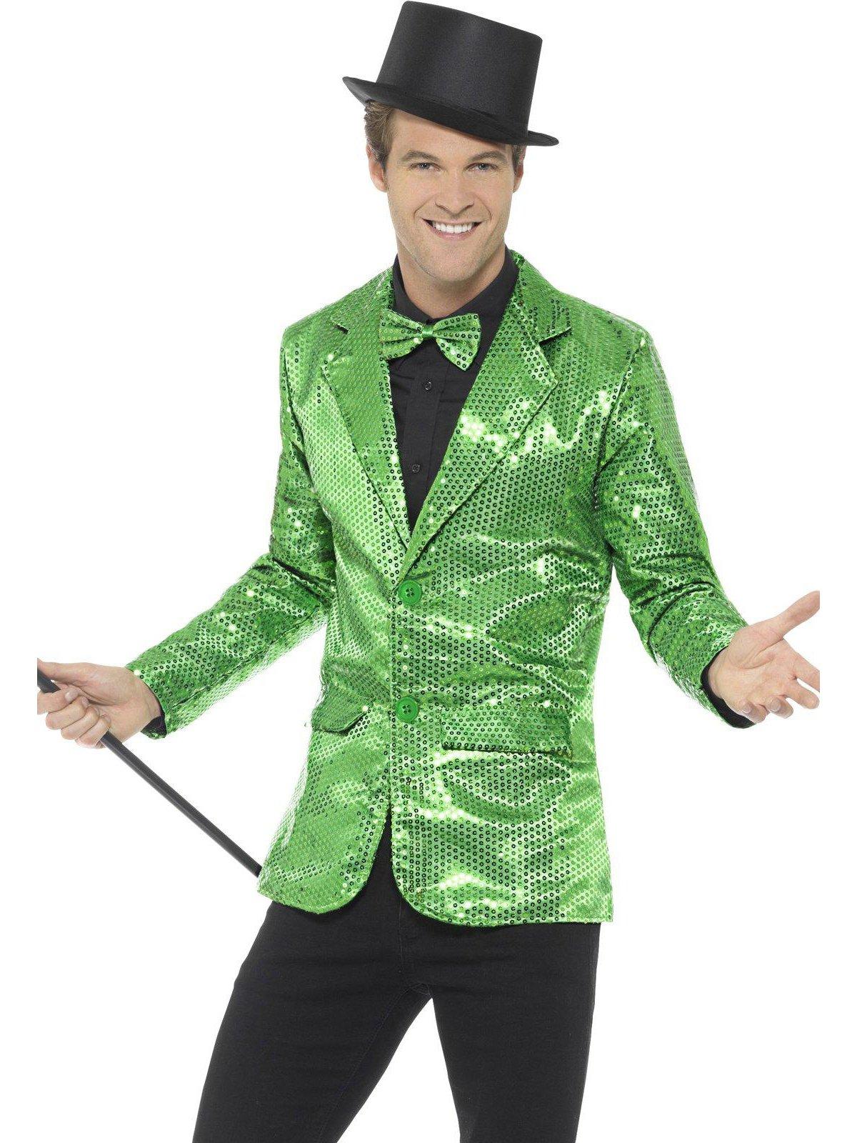 Smiffy's Men's Sequin Jacket, Green, Large