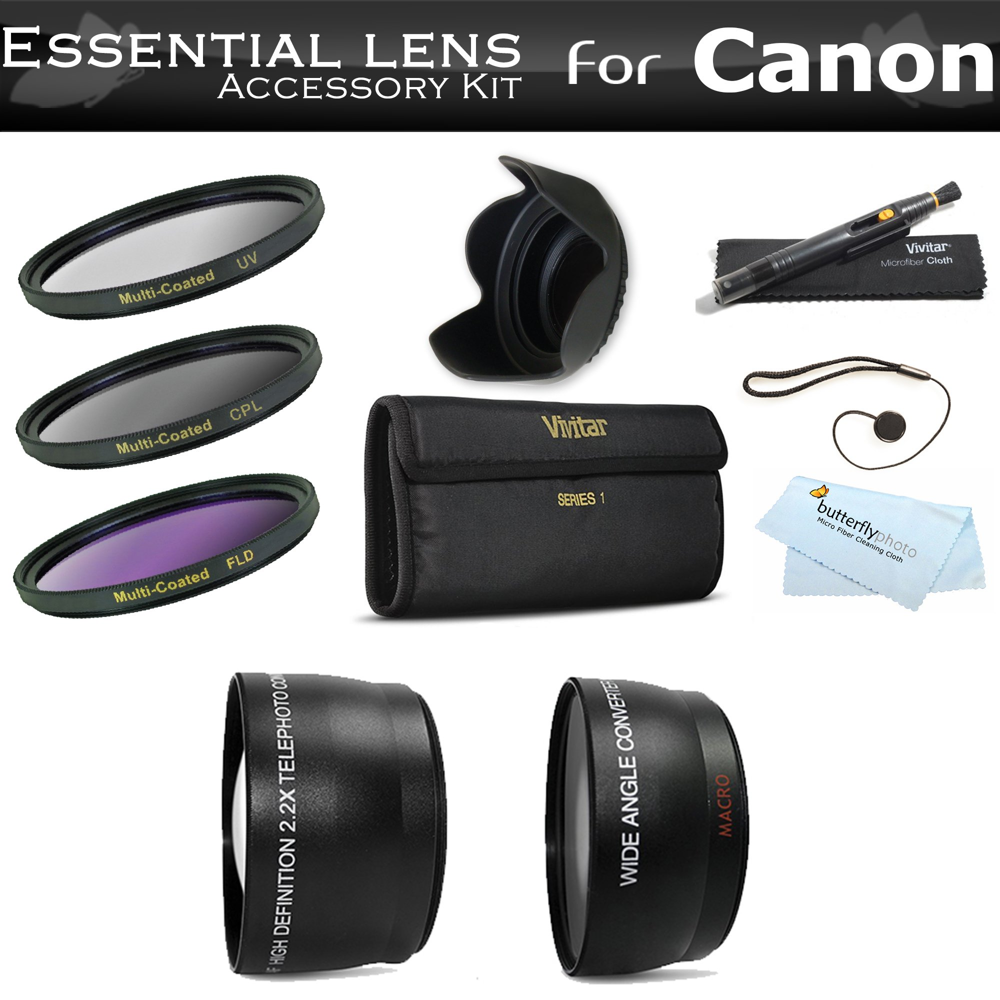 Deluxe All In Lens Kit For CANON VIXIA HF R82, HF R80, HF R800, HF R700, HF R72, HF R70 Camcorder Includes HD .43x Wide Angle Lens + 2.2x Telephoto Lens + 3 Piece Filter Kit (UV, CPL, FLD) + Much More by ButterflyPhoto