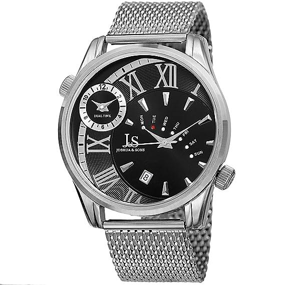 Joshua & Sons - Reloj de pulsera para hombre, correa de malla de acero inoxidable, multifunción, doble zona horaria, pantalla de fecha y día, gran redondo, ...