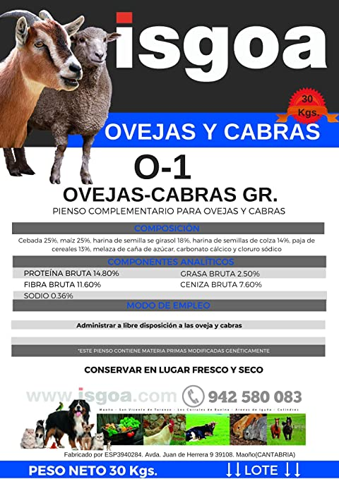 Pienso OVEJAS y Cabras Pasteras 0-1 Granulado. Isgoa: Amazon ...
