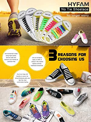 HYFAM No Tie Shoelaces 6 Pack for Kids Waterproof Elastic Silicone Tieless Shoe Laces for Sneakers Board Shoes Casual Shoes (Color: Kid Size 6pairs (Black, White,grey, Green, Pink, Rainbow), Tamaño: Kid Size)