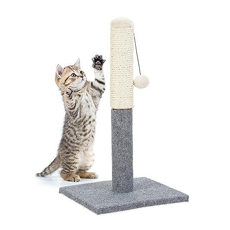 Relaxdays Poste Rascador para Gatos con Juguete, Sisal, Gris, 54 x 29.5 x