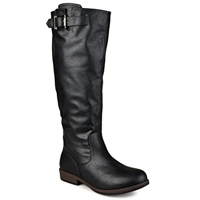 a723a45fc0d Journee Collection Womens Regular Sized and Wide-Calf Buckle Knee-high  Riding Boot Black