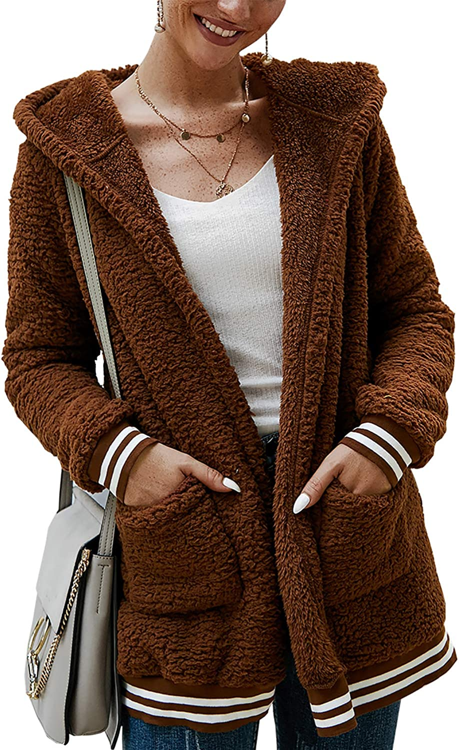 Hoodies for Women Womens Plush Autumn Winter Long Sleeve Pure Color Fashion Coat Pocket Long Coat