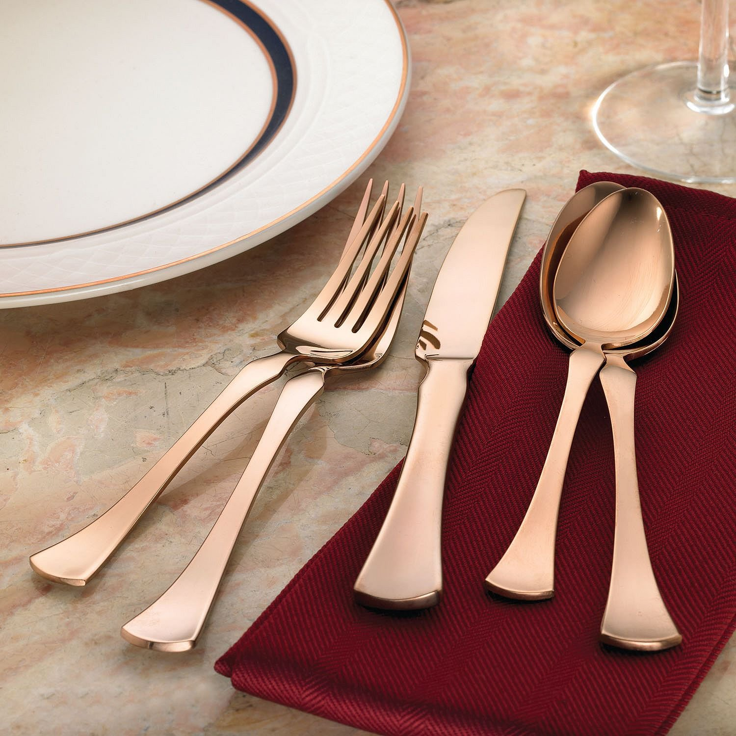 Refined Copper Hampton Forge 20-Piece Stainless Steel Flatware Set