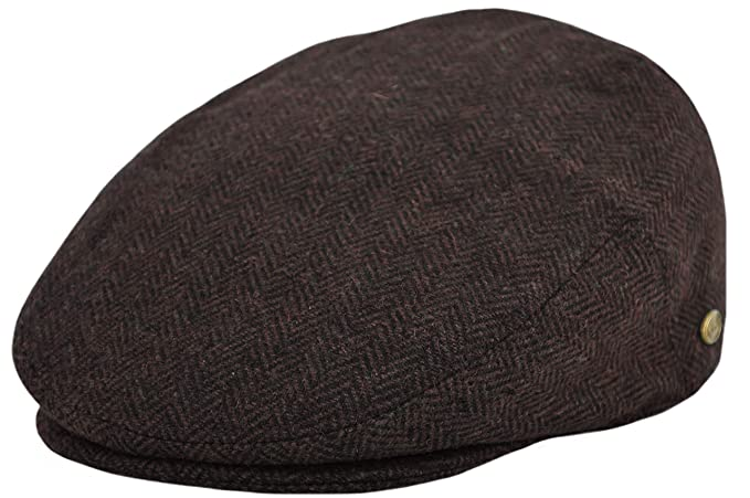 deac46bea Classic Men's Flat Hat Wool Newsboy Herringbone Tweed Driving Cap at ...