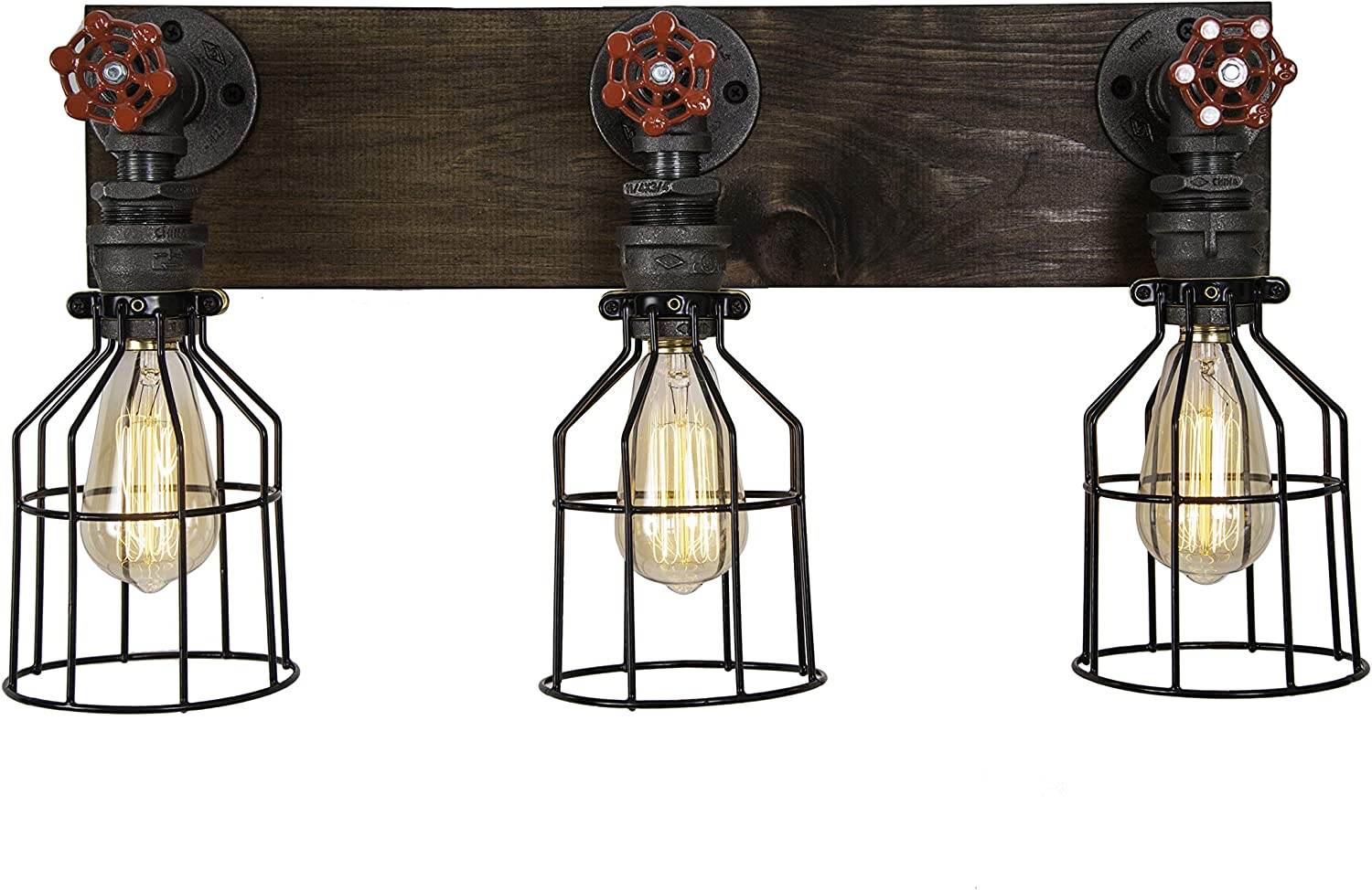 West Ninth Vintage Wood and Steel Vanity Light with Three Sockets and Red Spigot Handles – Industrial and Rustic – Perfect for Farmhouse Bathroom