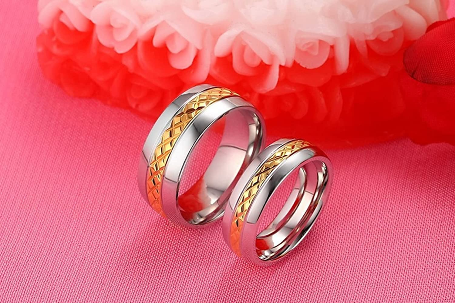 Beydodo Matching Rings for Couples Promise Rings Stainless Steel ...