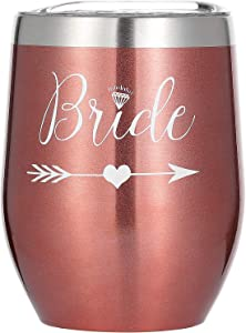 COFOZA Bride Gift Wedding Party Bachelorette Parties Bridal Shower Gift Wine Glass 12 Oz Stainless Steel Insulated Champange Wine Tumbler with Lid Bride To Be Proposal