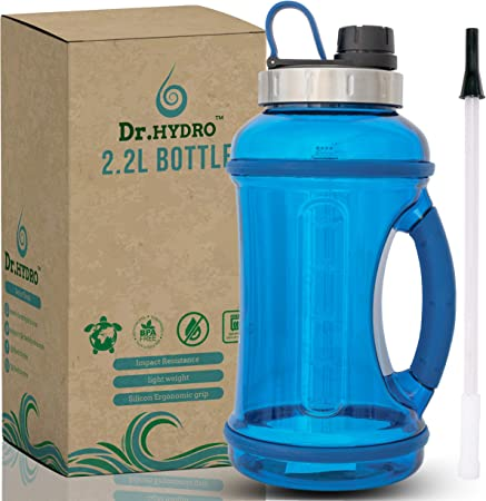 DR.HYDRO 2.2L Half Gallon Water Bottle with Straw- Dishwasher Safe & BPA Free Motivational Water Bottle / 2.2 Liter (74 Ounce) Large Water Bottle for Fitness and Outdoor Enthusiasts