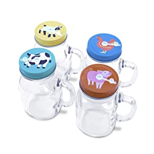 4 x 20oz Mason Jar Mugs with Handles, Lids, Reusable Straws   Farm Animal Stainless Steel Lids and Straws   Glass Drinking Cup Regular Mouth   BPA Free, Food Grade   Dishwasher Safe   23 Bees