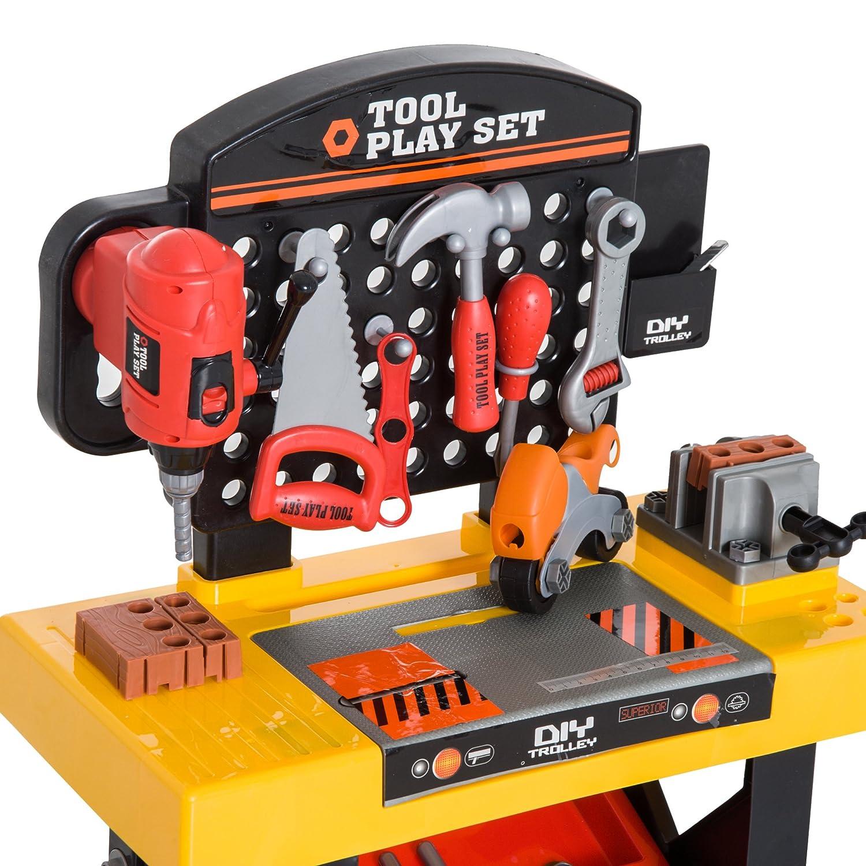 HOMCOM Kinder Arbeitstisch Spielzeug Werkbanktisch Rollenspiel Spielzeug 50/×26/×75cm
