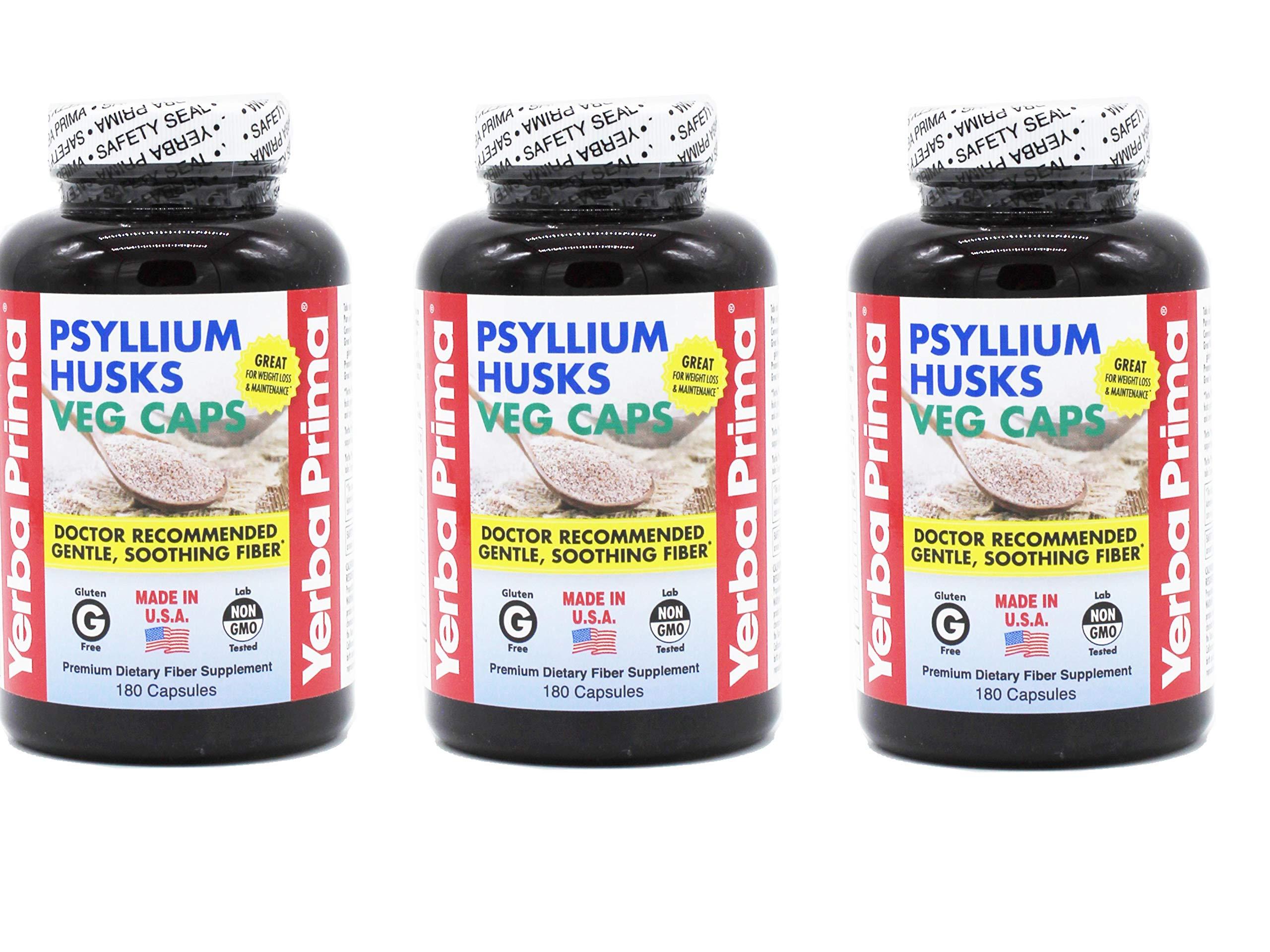Yerba Prima Psyllium Husks, 180 Veg Capsules (Pack of 3)