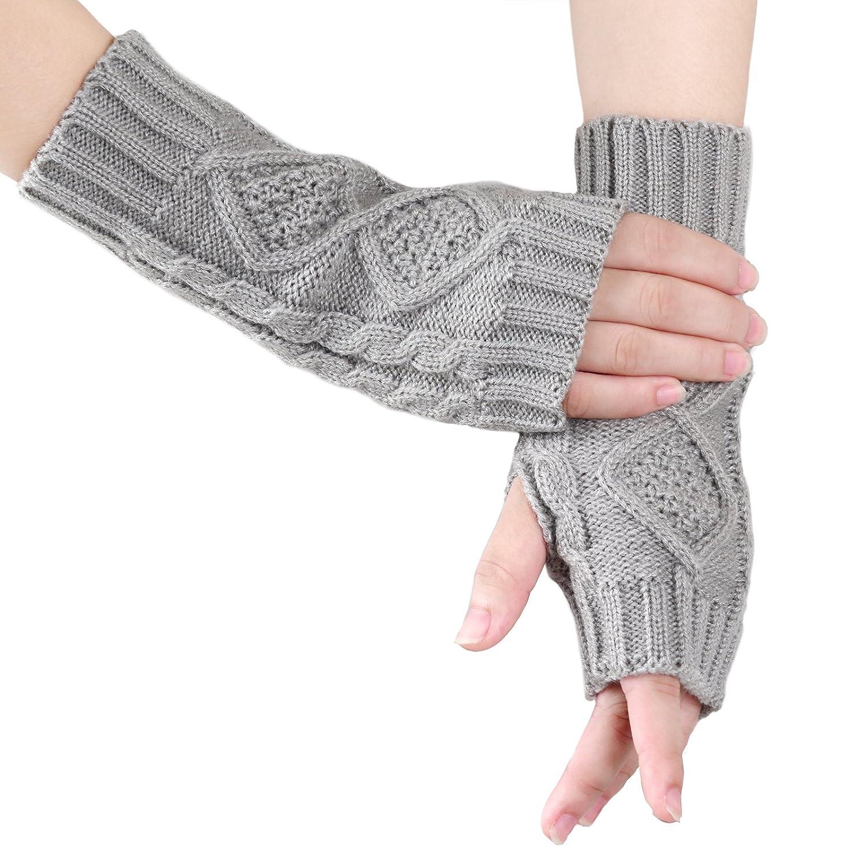 d85d4cfaca5 KUKOME Women Winter Fingerless Gloves Warm Knitted Hand Wrist Ladies New  Warmer Mitten (Grey) at Amazon Women s Clothing store