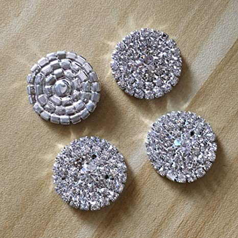 Crystal AB Clear Rhinestones Square Silver Metal Buttons Bridal Embellishment.