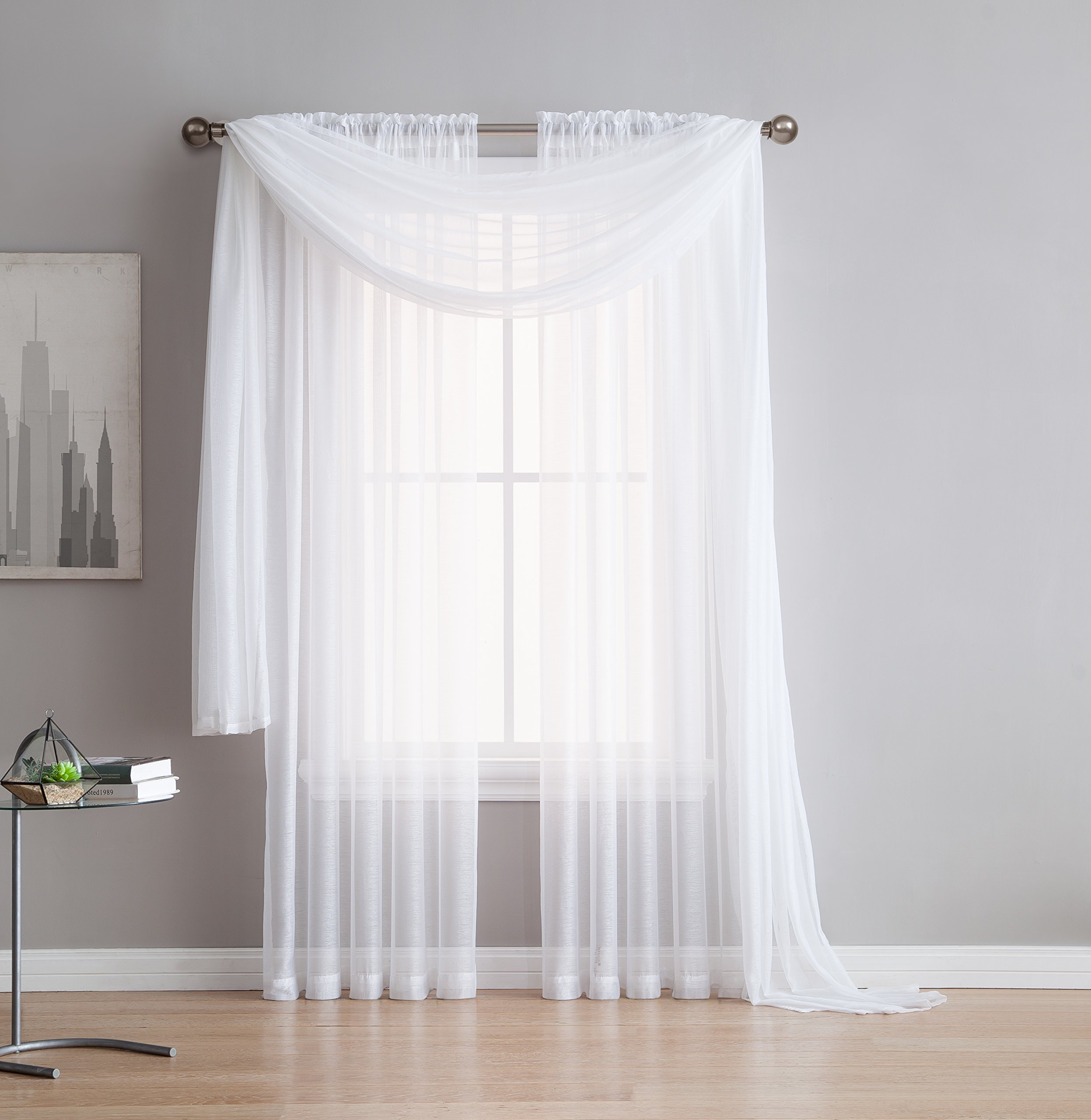 Jane - Rod Pocket Semi-Sheer Curtains - 2 Pieces - Total Size 108'' W x 108'' L - Natural Light Flow Material Durable Bedroom - Living Room - Kid's Room Kitchen (White)