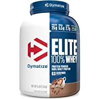 Dymatize Elite 100% Whey Protein Powder, 25g Protein, 5.5g BCAAs & 2.7g L-Leucine, Quick Absorbing & Fast Digesting for Optimal Muscle Recovery, Cafe Mocha, 5 Pound