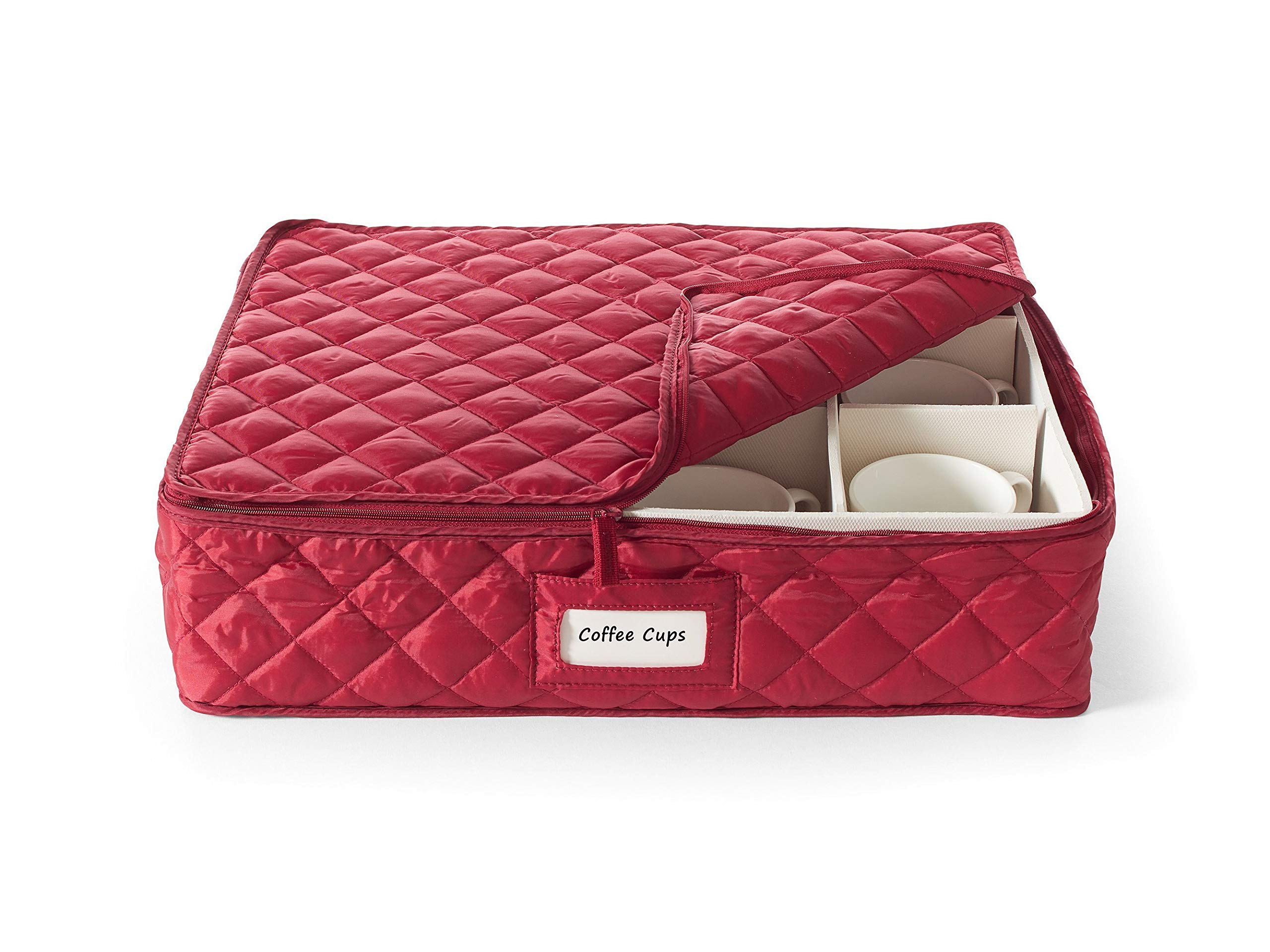 Covermates - China Cups and Coffee Mugs Storage 17L x 13W x 5H - Diamond Collection - 2 YR Warranty - Year Around Protection - Red by Covermates