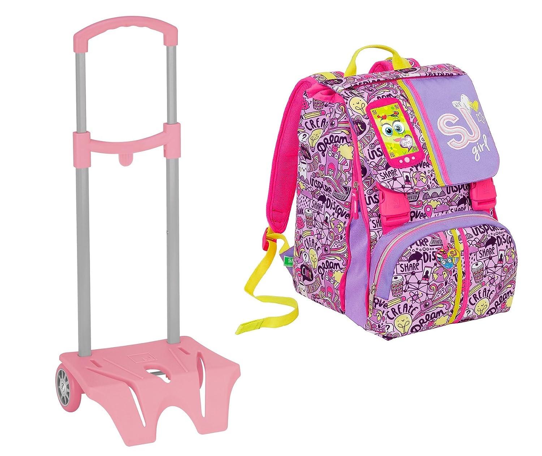 Zaino scuola sdoppiabile SJ GANG - HIGH TECH + Easy Trolley - Viola Rosa - INNOVATIVO sistema regolazione schienale - 28 LT elementari e medie 3 MAG_C8-M73B-QPMH