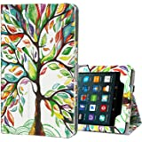 Ztotop Folio Case for All-New Amazon Fire 7 Tablet (7th Generation, 2017 Release) - Smart Cover Slim Folding Stand Case with Auto Wake/Sleep for Fire 7 Tablet, Lucky Tree