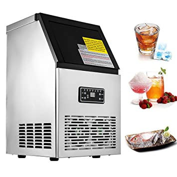 50 kg//24 h Edelstahl Eiswürfel Ice Maker Maschine Home Cafe Verwendung 220V